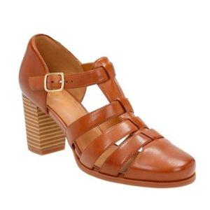 Clark's Artisan Ciera Gull Brown Leather Heels
